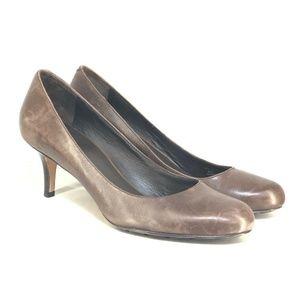 B54 COLE HAAN Womens Brown Leather Toe Pump Sz 9.5